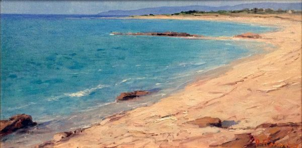 Angelo Romby painting of coastline with turquoise water
