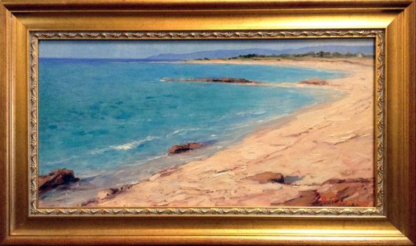 Framed Angelo Romby painting of beach