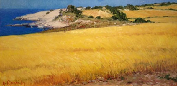 Angelo Romby painting of field at coast with tall yellow grass