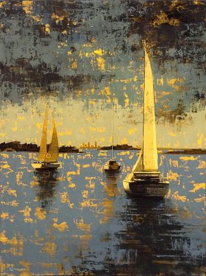 Kevin Kusiolek painting of sailboats on Boston Harbor