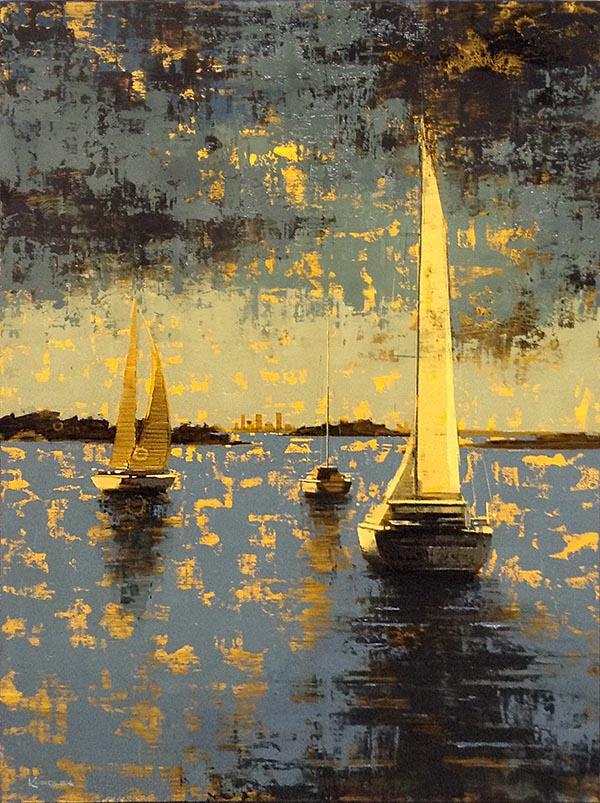 Kevin Kusiolek painting of sailboats on Boston Harbor