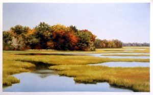 Elizabeth Rickert print of marsh with trees in autumn