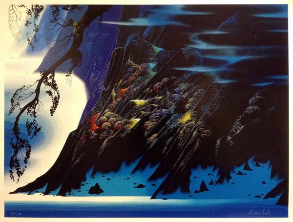 Eyvind Earle print of dark cliff on coast