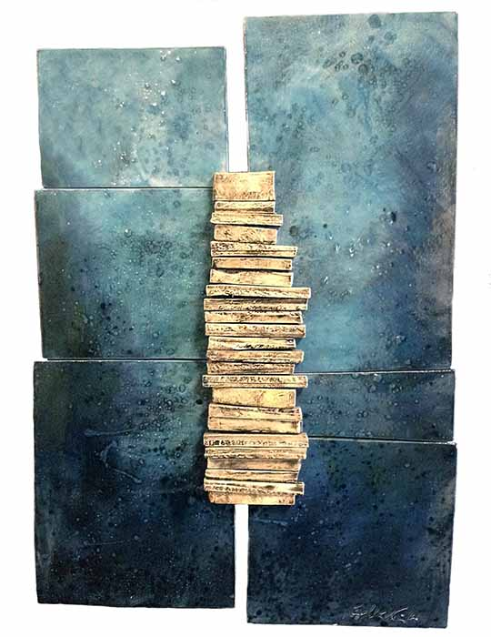 Naira & Rafik Barseghian wall sculpture abstract in blues