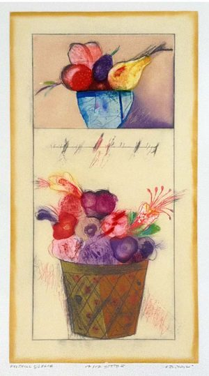 Norman Laliberté print of fruit in bowls on yellow background