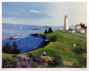 Sally Caldwell Fisher print of coastline with lighthouse and people