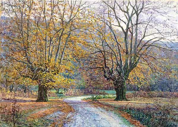 Juan Antonio Falcó painting of trees along path in autumn