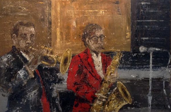 Josep Bonet Subirats painting of men playing brass instruments