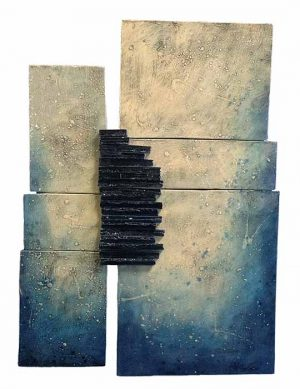Naira & Rafik Barseghian ceramic wall sculpture abstract with dark blue and pale green