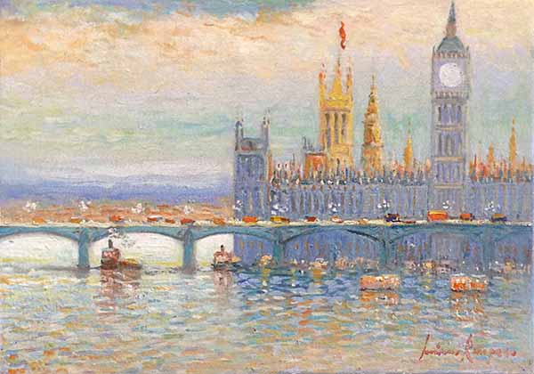 Luciano Rampaso painting of London Parliament on Thames
