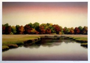 Elizabeth Rickert print of marsh with trees at sunset