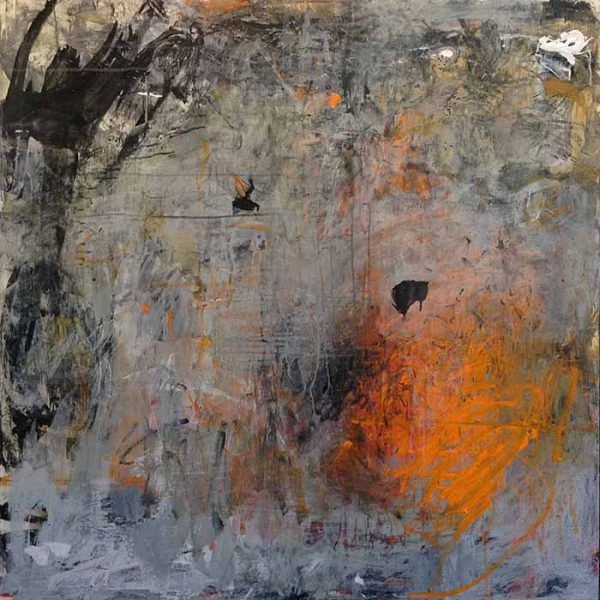 Brenda Cirioni painting abstract mixed media with bright spot on dark background