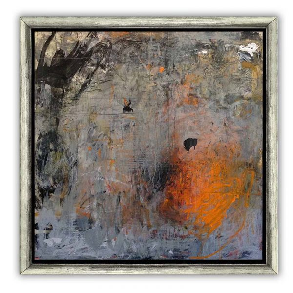 Brenda Cirioni painting framed of volcanic eruption looking abstract