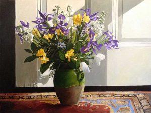 Thomas Stiltz painting of flowers in vase on persian rug