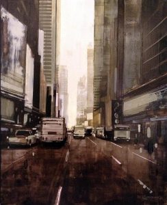 Kevin Kusiolek painting of foggy NYC street