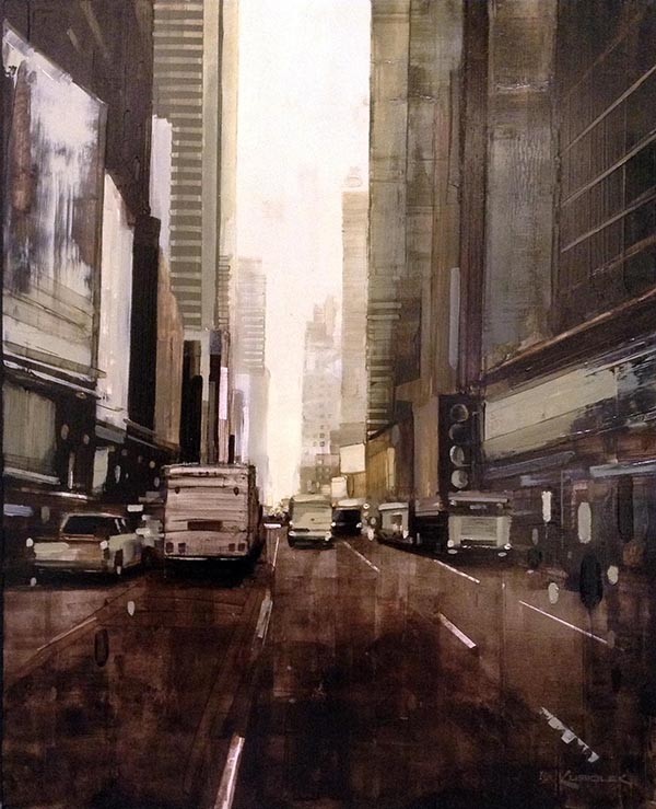 Kevin Kusiolek painting of foggy NYC street