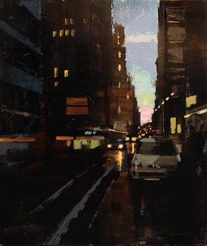 Kevin Kusiolek painting of NYC street with setting sun