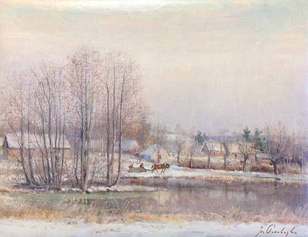 Josef Procházka painting of winter scene with horse drawn carriage