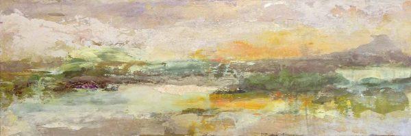 Brenda Cirioni mixed media abstract painting river scene sunset