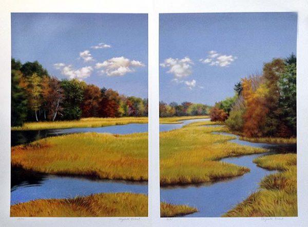 Elizabeth Rickert print of marsh with trees in autumn