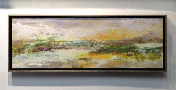 Framed Brenda Cirioni painting of abstract river edge at dusk