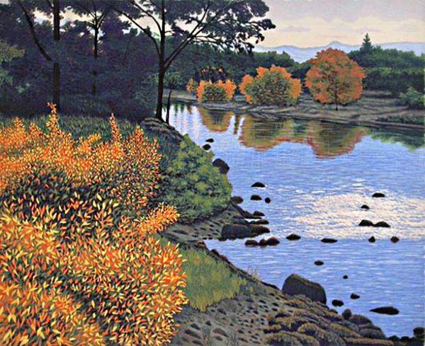 Gordon Louis Mortensen woodcut of creek with trees in autumn