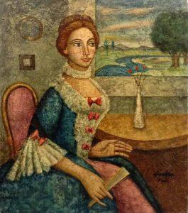 José Gumbau Vidal painting portrait of seated woman holding fan