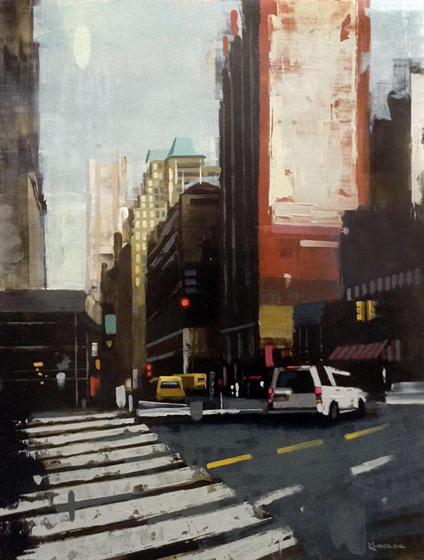 Kevin Kusiolek painting of busy street in NYC