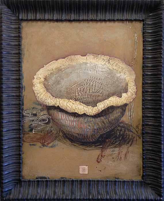 Framed Ivo Stoyanov painting of bowl