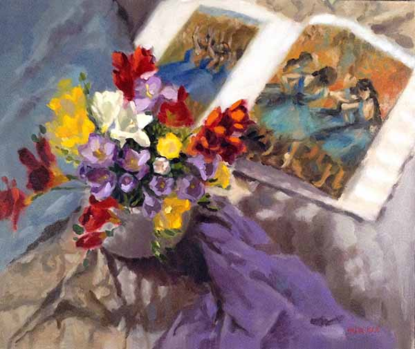 Pauline Roche still life painting with flowers and dancers