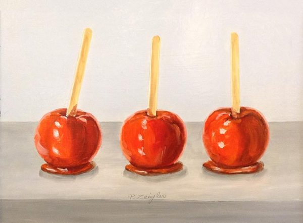 Patti Zeigler painting of a row of 3 bright red candy apples