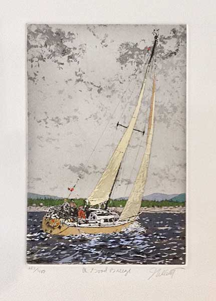John Collette A Good Breeze print of people on sailboat on water