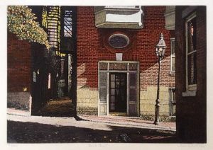 John Collette Back Street print of quiet street in Boston with buildings