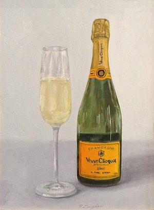 Patti Zeigler painting of champagne bottle and glass
