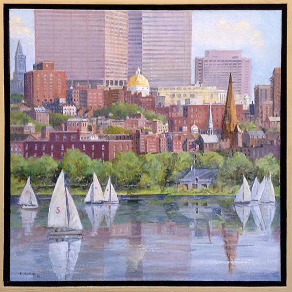 Frederick Kubitz framed painting of Boston seen on Charles River