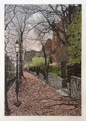 John Collette City Scene print of Boston street with houses and brick sidewalk