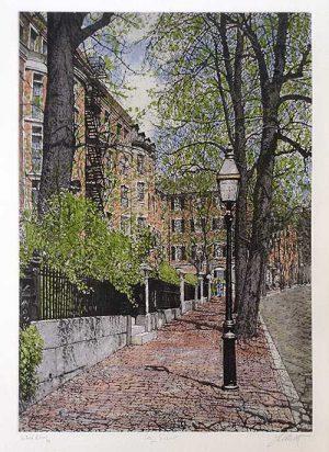 John Collette City View print of quiet street in Boston neighborhood with brownstones and brick sidewalk
