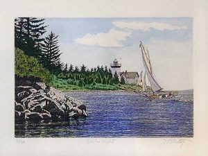 John Collette Curtis Light print of New England coastline with sailboat and lighthouse