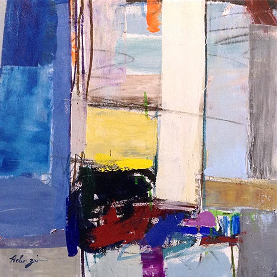 Helen Zarin painting with abstract lines and shapes