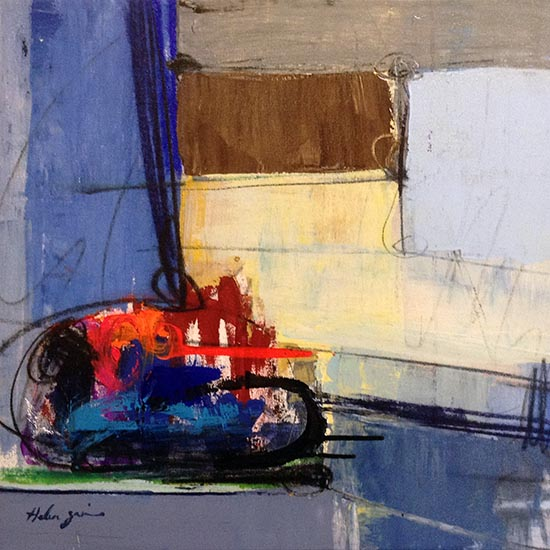 Helen Zarin painting with abstract lines and shape