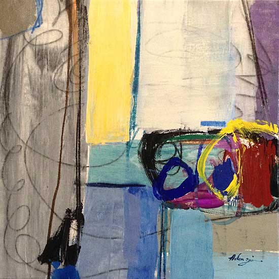 Helen Zarin abstract painting of colorful lines and shapes