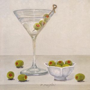 Patti Zeigler painting of a martini next to a small bowl of olives