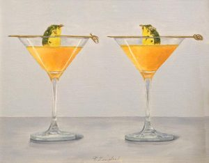 Patti Zeigler painting of 2 pineapple martinis with garnish