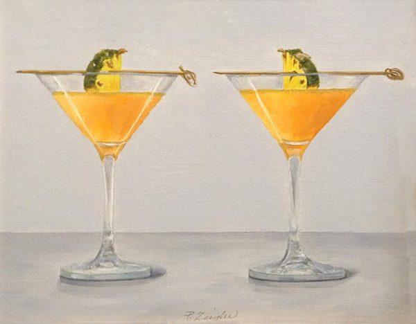 Patti Zeigler painting of 2 pineapple martinis with garnish