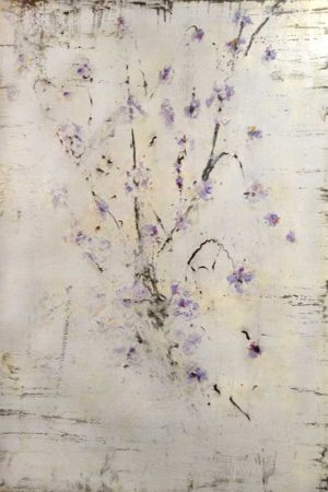 Bernard Weston fresco painting of brach with budding purple flowers