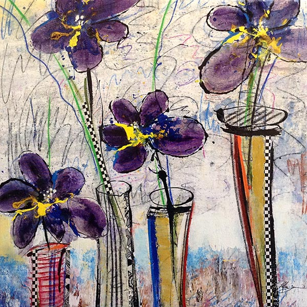 Helen Zarin painting with purple flowers in vases