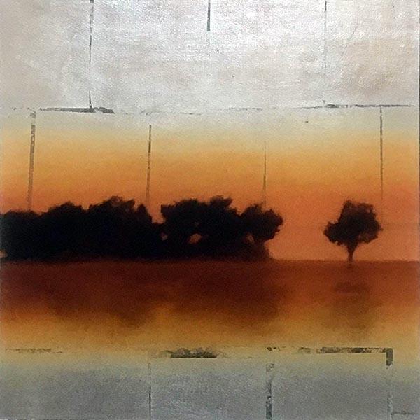 Jason Horton painting of trees at sunset