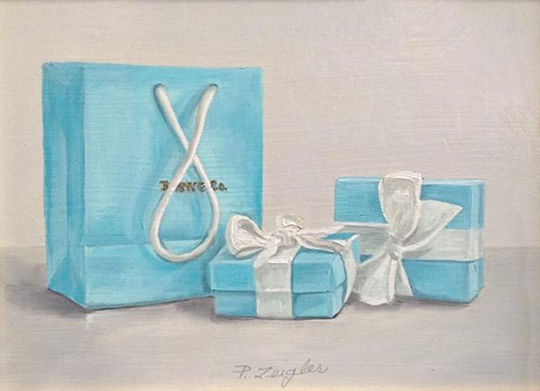 Patti Zeigler painting of a Tiffany & Co. bag and packages with bows