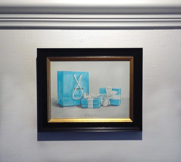 Framed Patti Zeigler painting of light blue Tiffany & Co. bag and boxes