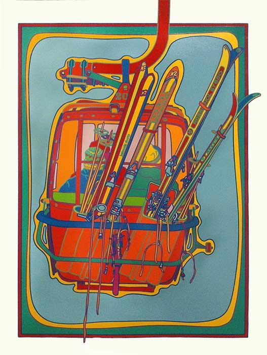 Clayton Pond pop-art print of skiers in a gondola